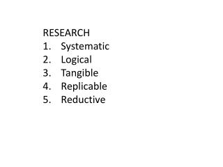 RESEARCH Systematic Logical Tangible Replicable Reductive