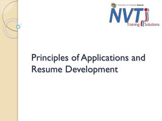 Principles of Applications and Resume Development