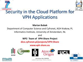 Security in the  Cloud Platform for VPH Applications Marian Bubak