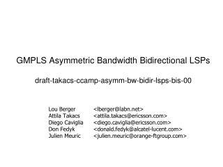 GMPLS Asymmetric Bandwidth Bidirectional LSPs draft-takacs-ccamp-asymm-bw-bidir-lsps-bis-00