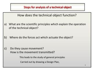 Steps for analysis of a technical object