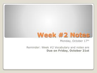 Week #2 Notes