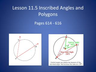 Lesson  11.5 Inscribed Angles and Polygons