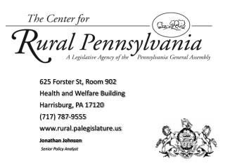625 Forster St, Room 902  Health and Welfare Building Harrisburg, PA 17120 (717) 787-9555