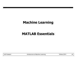 Machine Learning MATLAB Essentials