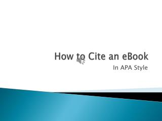 How to Cite an eBook