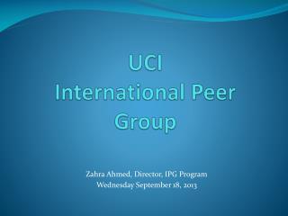 UCI  International Peer Group
