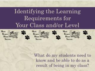 Identifying the Learning Requirements for  Your Class and/or Level