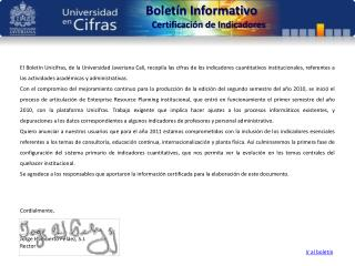 Boletín Informativo Certificación de Indicadores