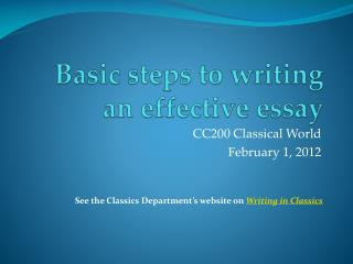 Basic steps to writing an effective essay