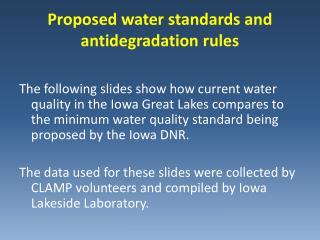 Proposed water standards and antidegradation rules