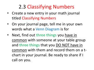 2.3  Classifying Numbers