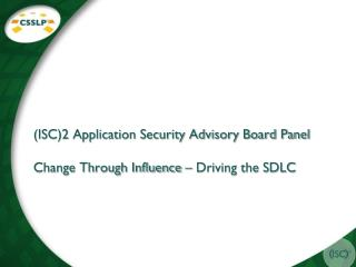 (ISC)2 Application Security Advisory Board Panel Change Through Influence – Driving the SDLC