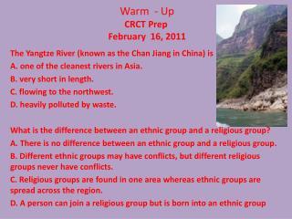 Warm  - Up CRCT Prep February   16 ,  2011