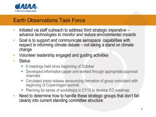 Earth Observations Task Force