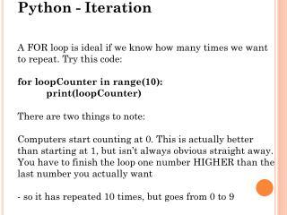 Python - Iteration