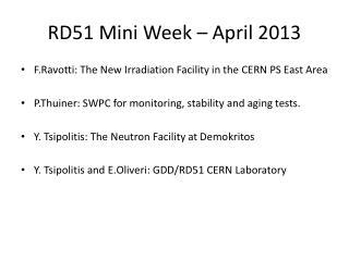RD51 Mini Week – April 2013