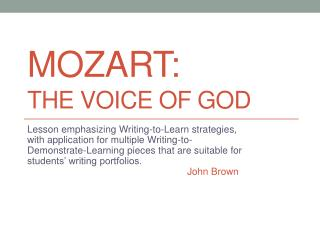 Mozart:  The Voice of God