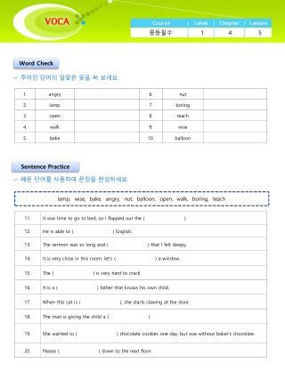 VOCA Course  Worksheet