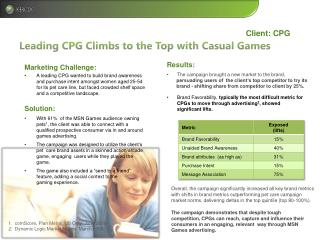 Leading CPG Climbs to the Top with Casual Games