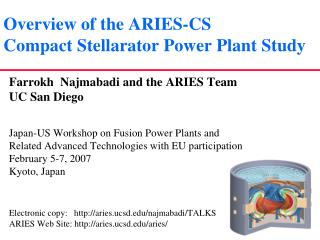 Overview of the ARIES-CS Compact Stellarator Power Plant Study