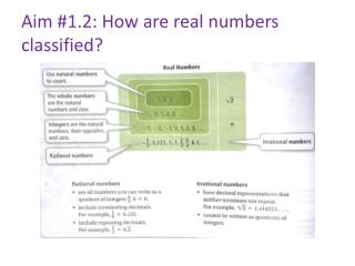 Aim #1.2: How are real numbers  classified?