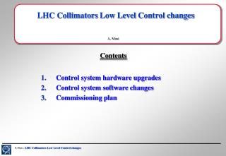 LHC Collimators  Low Level  Control changes