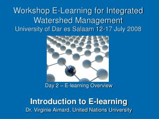 Workshop E-Learning for Integrated Watershed Management University of Dar es Salaam 12-17 July 2008