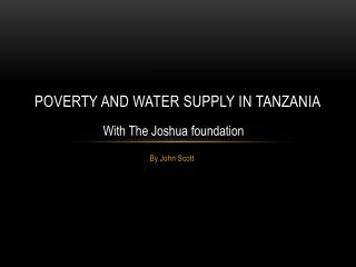 Poverty and water supply  in  Tanzania