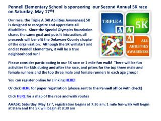 Pennell Elementary School is sponsoring  our Second  A nnual 5K  race on Saturday, May  17 th !