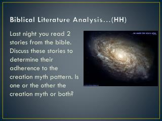 Biblical Literature Analysis �(HH)