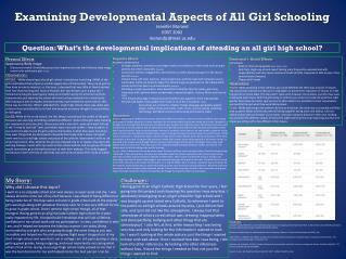 Examining Developmental Aspects of All Girl Schooling  Jennifer  Morand EDST 2002