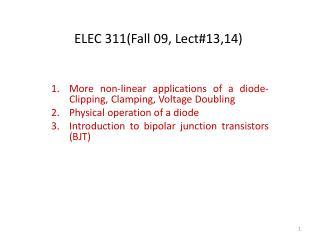 ELEC 311(Fall 09, Lect#13,14)