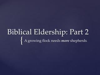 Biblical Eldership: Part 2