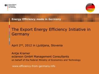 The Export Energy Efficiency Initiative in Germany