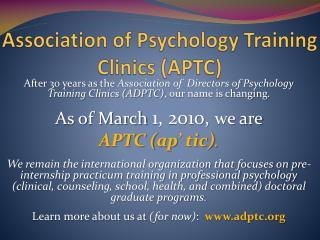 Association of Psychology Training Clinics (APTC)