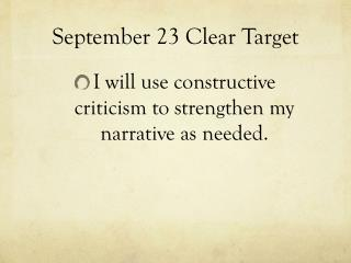 September 23 Clear Target