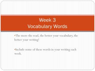 Week 3 Vocabulary Words