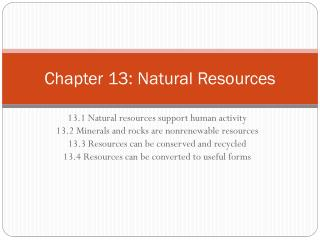 Chapter 13: Natural Resources