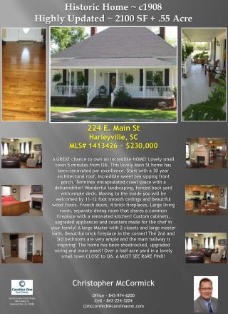 224 E. Main St Harleyville , SC MLS# 1413426 ~ $230,000