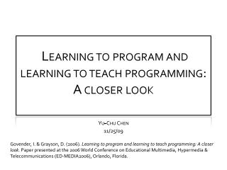 Learning to program and learning to teach programming: A closer look