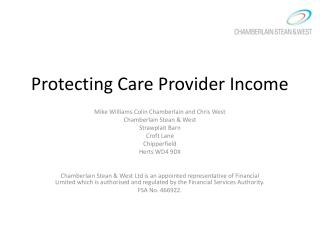 Protecting Care  Provider Income
