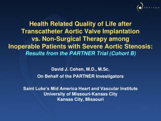 Health Related Quality of Life after  Transcatheter Aortic Valve Implantation  vs. Non-Surgical Therapy among  Inoperabl