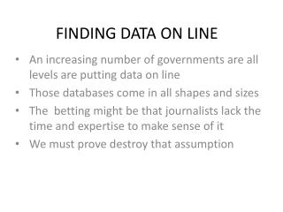 FINDING DATA ON LINE