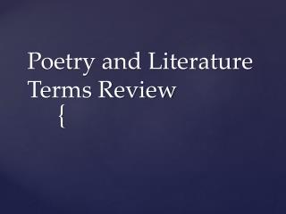 Poetry and Literature Terms Review