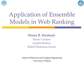 Application of Ensemble Models in Web Ranking