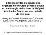 Bilan d activit s du service des urgences de chirurgie g n rale adulte et de chirurgie p diatrique de l h pital Aristide