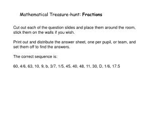 Mathematical Treasure-hunt:  Fractions