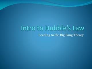 Intro to Hubble's Law
