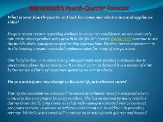 Warrantech's Fourth-Quarter Forecast